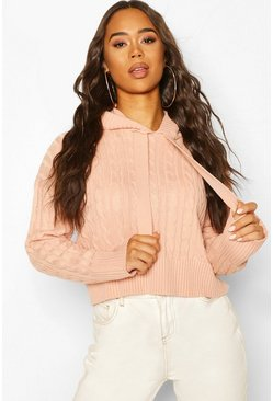 Cable Knit Hoodie, Blush