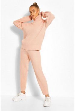 Blush Turtle Neck Knitted Jogger Lounge Set