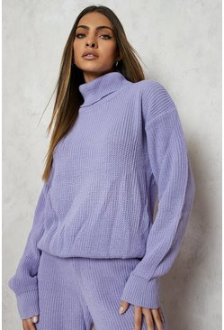 Turtle Neck Knitted Jogger Lounge Set, Lilac