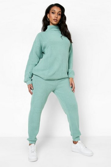 Sage Turtle Neck Knitted Jogger Lounge Set