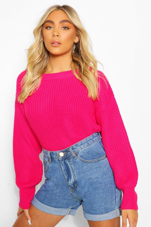 Vintage Sweaters, Retro Sweaters & Cardigan Ladies Womens Slash Neck Knitted Sweater - Pink - M $20.00 AT vintagedancer.com