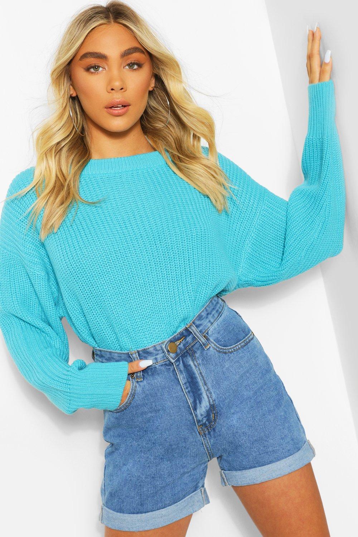 Vintage Sweaters, Retro Sweaters & Cardigan Ladies Womens Slash Neck Knitted Sweater - Blue - M $20.00 AT vintagedancer.com