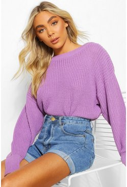 Violet Slash Neck Knitted Jumper