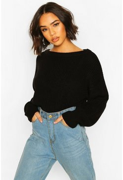 Black Slash Neck Knitted Jumper