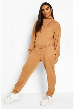 Toffee Oversized Roll Neck Lounge Set