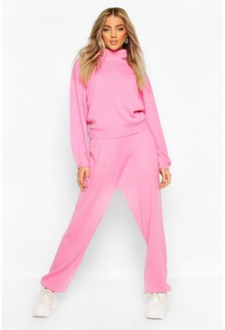 Baby pink Oversized Roll Neck Lounge Set