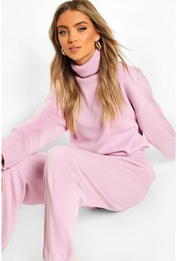 Lilac Oversized Roll Neck Lounge Set