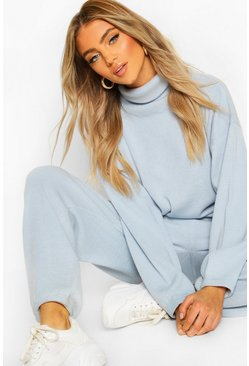 Oversized Roll Neck Lounge Set, Sky