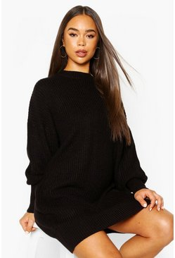 Black Extreme Oversized Crew Neck Knitted Dress