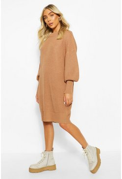 Camel Extreme Oversized Crew Neck Knitted Dress