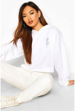 White Rose Pocket Print Crop Hoody