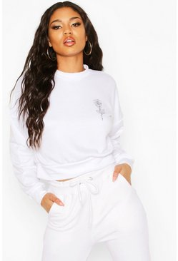 Womens White Rose Pocket Print Crop Sweat