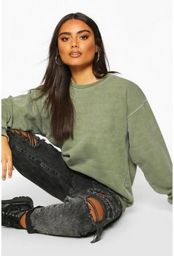 Womens Khaki Washed Oversized Sweat