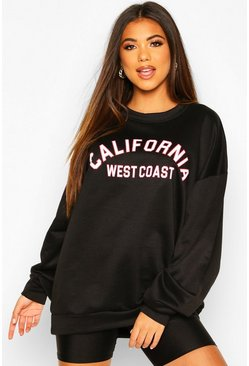 California LA Slogan Oversized Sweat, Black