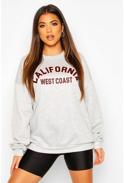 Grey marl California LA Slogan Oversized Sweat
