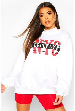 NYC Slogan Oversized Sweat, White, FEMMES