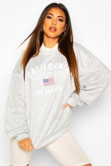 Womens Grey marl California Slogan Oversized Sweat