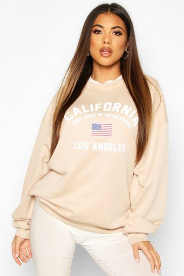 Womens Sand California Slogan Oversized Sweat