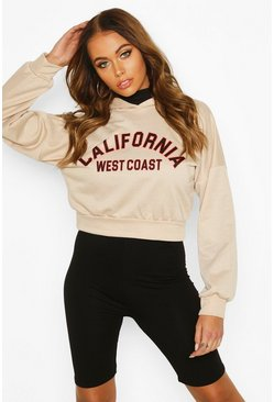 California Slogan Crop Hoody, Sand