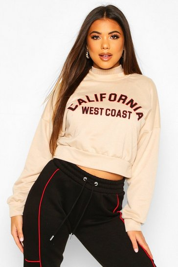 Womens Sand California Slogan Crop Sweat