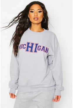 Michigan State Slogan Sweatshirt, Grey, MUJER