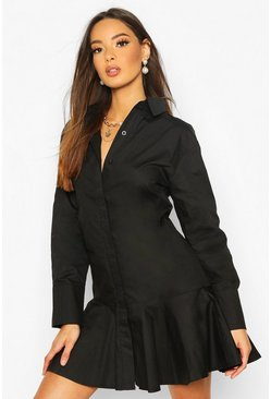 Black Frill Hem Shirt Dress