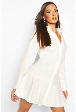 Frill Hem Shirt Dress, White
