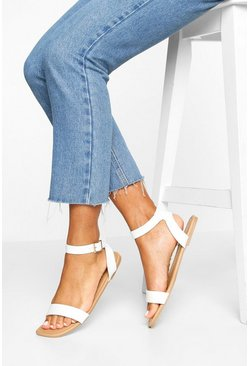 Square Toe 2 Part Basic Sandals, White
