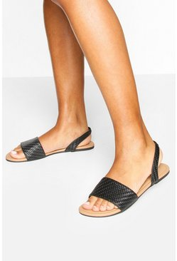Woven Sling Back Sandals, Black