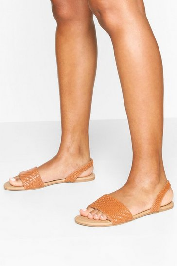 Tan Woven Sling Back Sandals