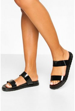 Double Strap Jelly Sliders, Black