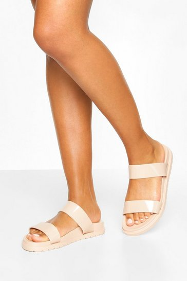 Nude Double Strap Jelly Sliders