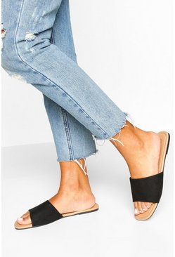 Square Toe Basic Sliders, Black