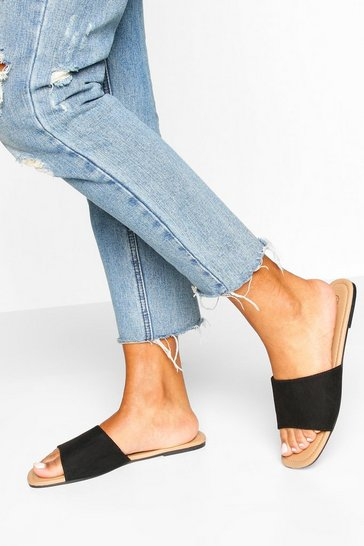 Black Square Toe Basic Sliders