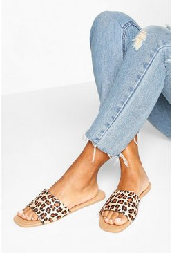Leopard Square Toe Basic Sliders