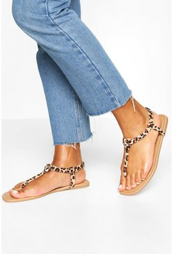 Square Toe Thong Sandals, Leopard