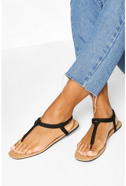 2 Pack Square Toe Thong Sandals, Multi