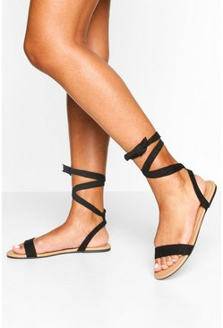 Black Basic Wrap Sandals