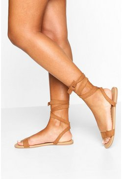 Basic Wrap Sandals, Tan
