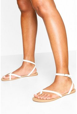 Asymmetric Basic Sandals, White