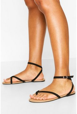 Asymmetric Basic Sandals, Black