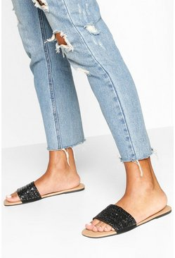 Embellished Square Toe Sliders, Black