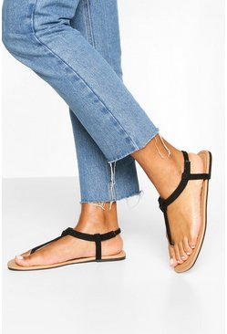 Black Square Toe Thong Sandals