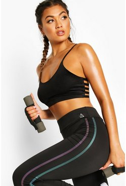 Fit Double Iredescent Side Stripe Gym Leggings, Black