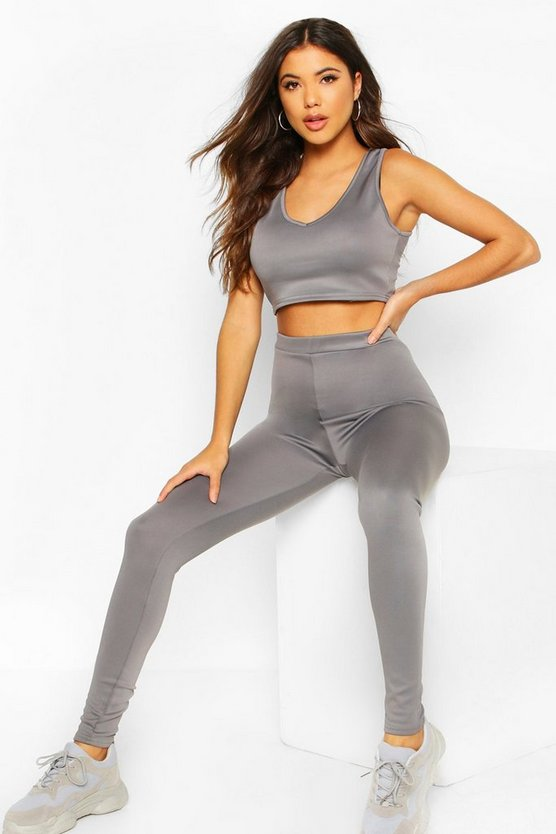 Womens Grey Fit Basic Gym Leggings