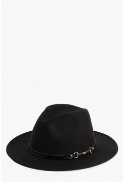 Black PU & Chain Detail Fedora Hat