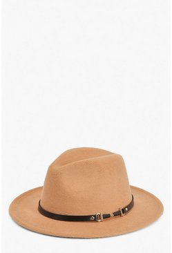 Womens Caramel PU & Chain Detail Fedora Hat