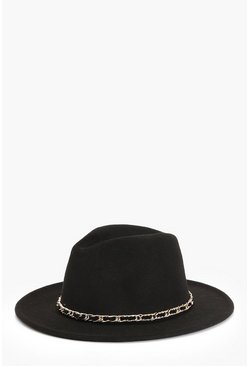 Womens Black Buckle PU Link Detail Fedora Hat