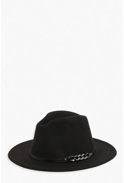 Womens Black Chunky Chain Detail Fedora Hat