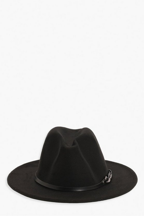 Chunky Chain Detail Fedora Hat